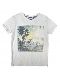 Rumbl!: T-shirt met V-hals en copacobana opdruk.