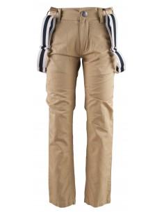 Rumbl!: kaki katoenen broek met brede zwart/witte bretels