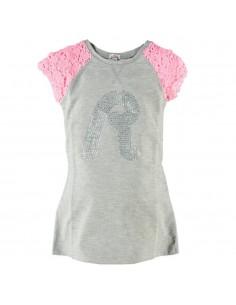Replay: grijze tricot jurk met roze kanten mouwen