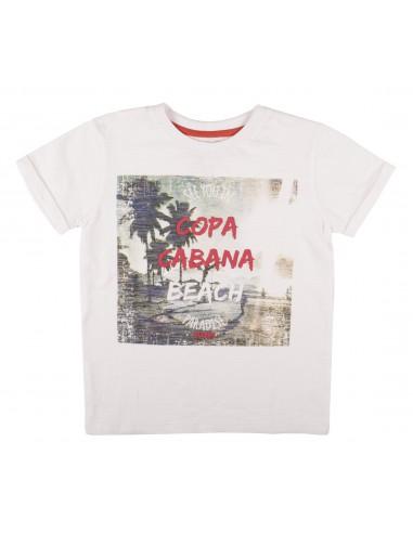 Rumbl!: T-shirt met ronde hals en copacobana opdruk.