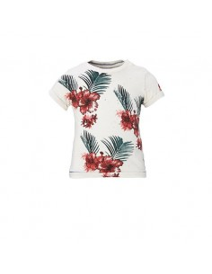 Replay: t-shirt off white met bloemen