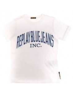 Replay: t-shirt wit met opdruk.