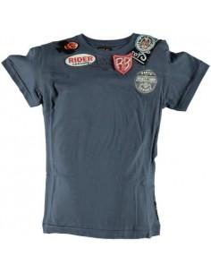 Replay: t-shirt  lavenblauw met opdrukken