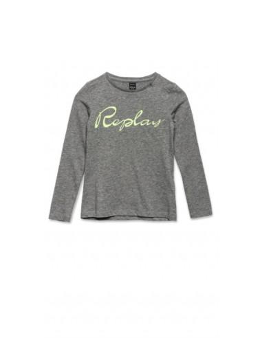 Replay: Girl's T-shirt with REPLAY print grijs