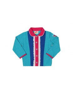 The Dutch Design Bakery: polo vest lange mouw in aqua met doorknoopsluiting