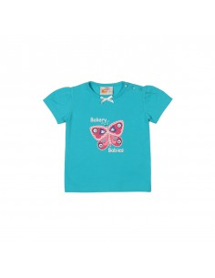 The Dutch Design Bakery: uni t-shirt aqua met pofmouw en grote gepufte print