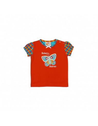 The Dutch Design Bakery: vrolijk pofmouw t-shirt in lichtrose-fuchsia