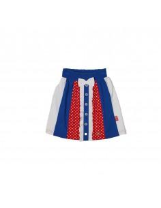 The Dutch Design Bakery: feestelijk rokje knielengte met vrolijke verticale stroken in rood met gepufte stip- rood-wit-blauw