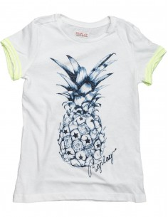 Replay: t-shirt basic Jersey pineapple wit